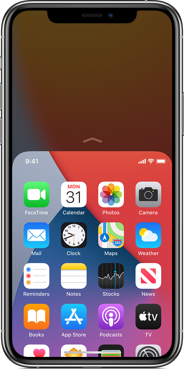 screen showing reachability being used on iPhone 11 Pro