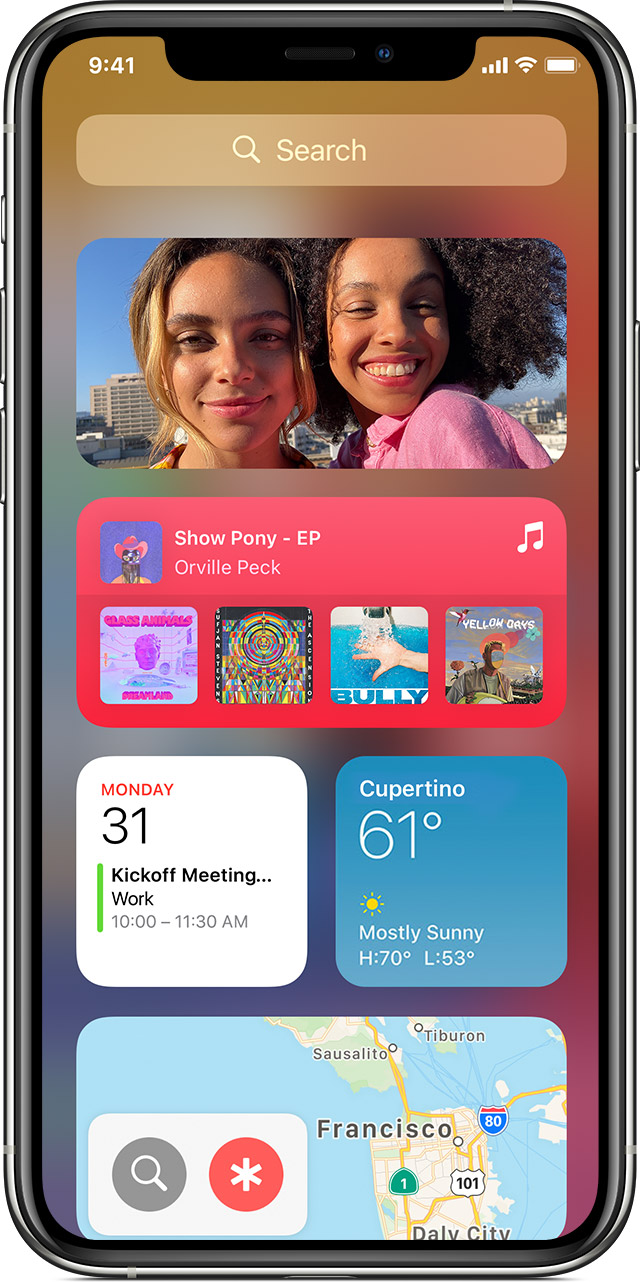screen showing widgets on iPhone 11 Pro