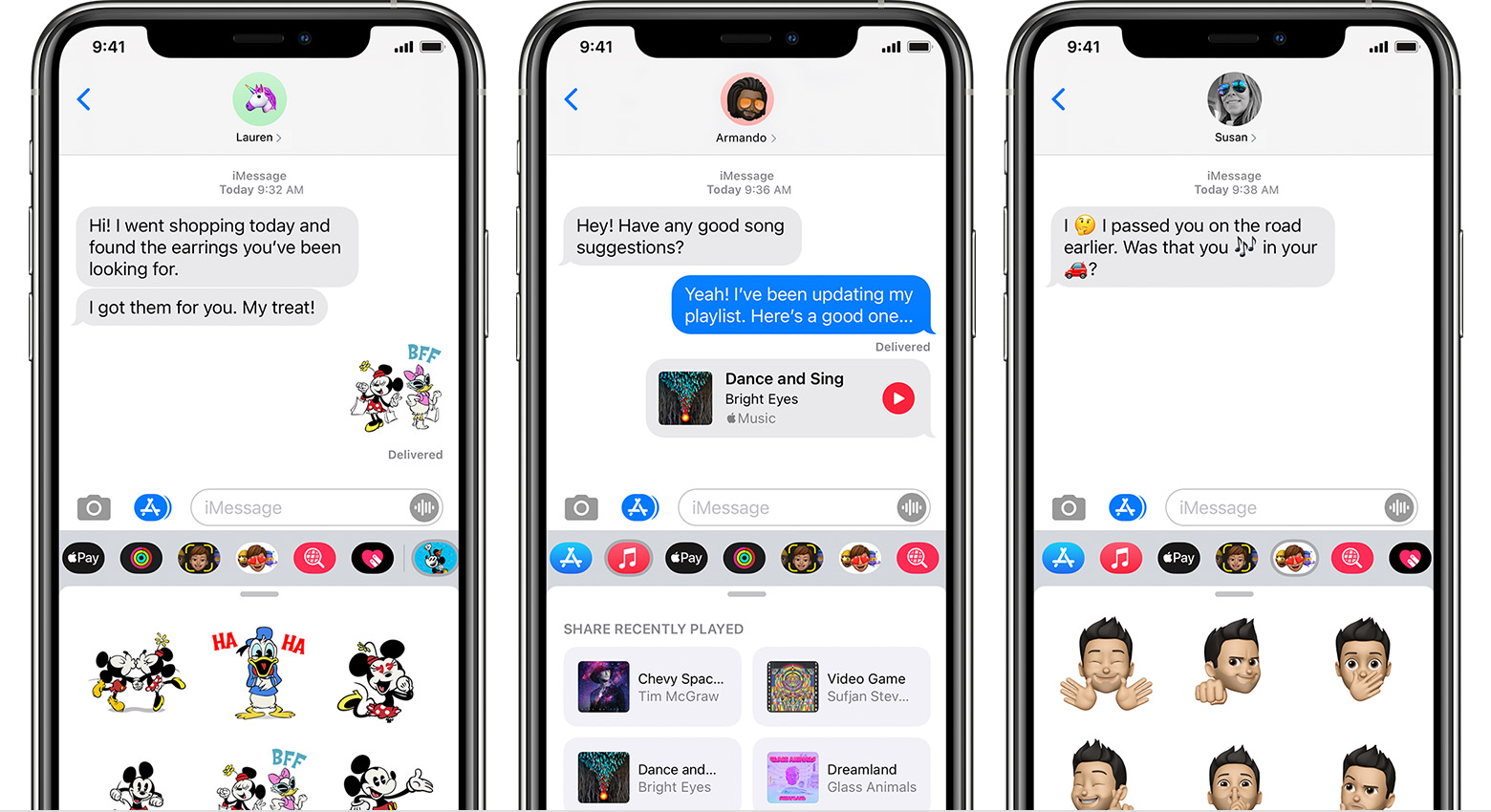 iPhone showing iMessage apps in a messages conversation