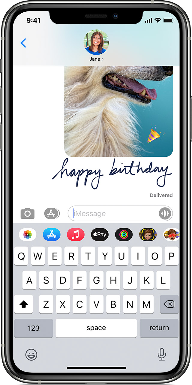 iPhone showing a handwritten note in Messages