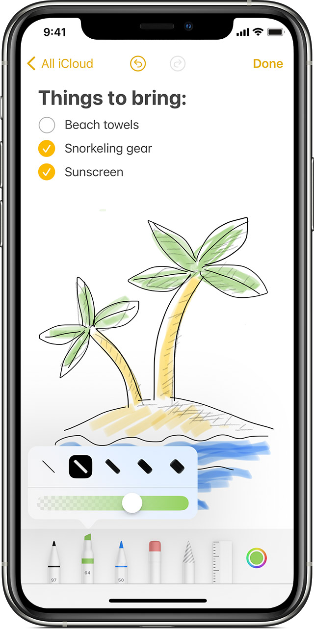 iPhone showing how to create an inline drawing