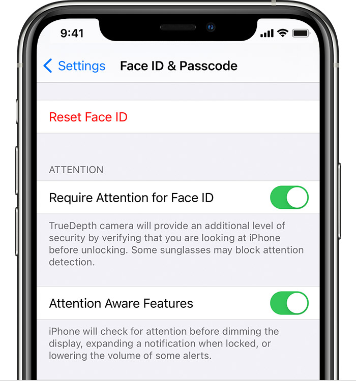 Face ID and Passcode settings on iPhone. Attention Awareness Features is turned on.