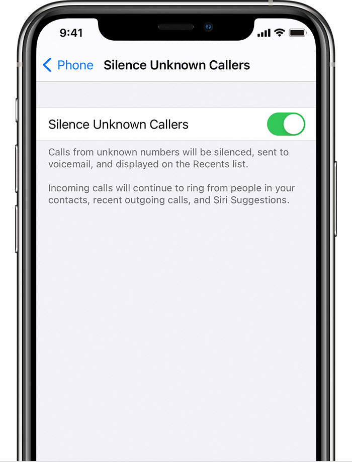 iPhone showing how to turn on Silence Unknown Callers