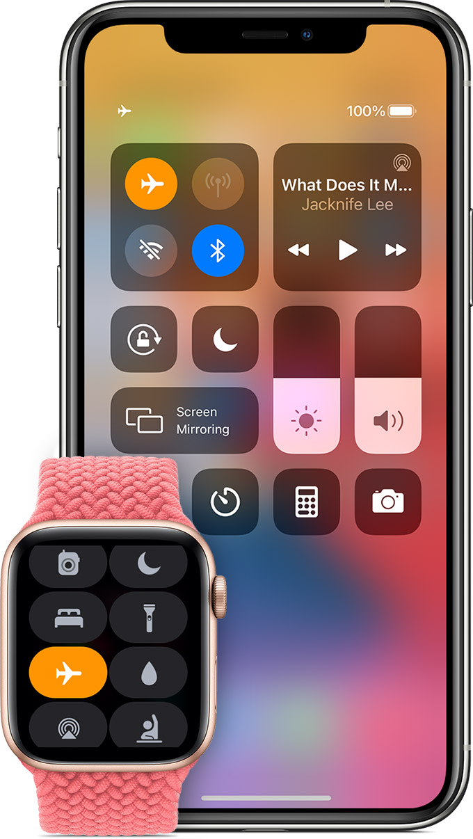 iPhone and Apple Watch showing Airplane Mode enabled