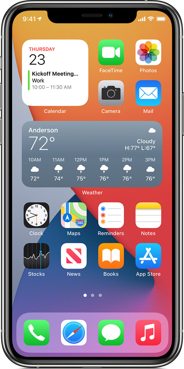 iPhone showing the Weather widget on Home Screen