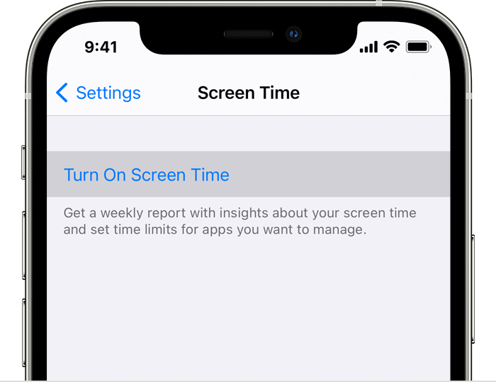 "iPhone Settings with ""Turn On Screen Time"" selected"