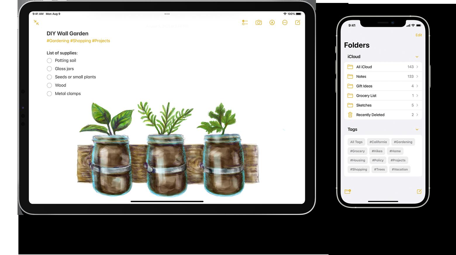 iPad και iPhone που εμφανίζουν μια λίστα με ετικέτες