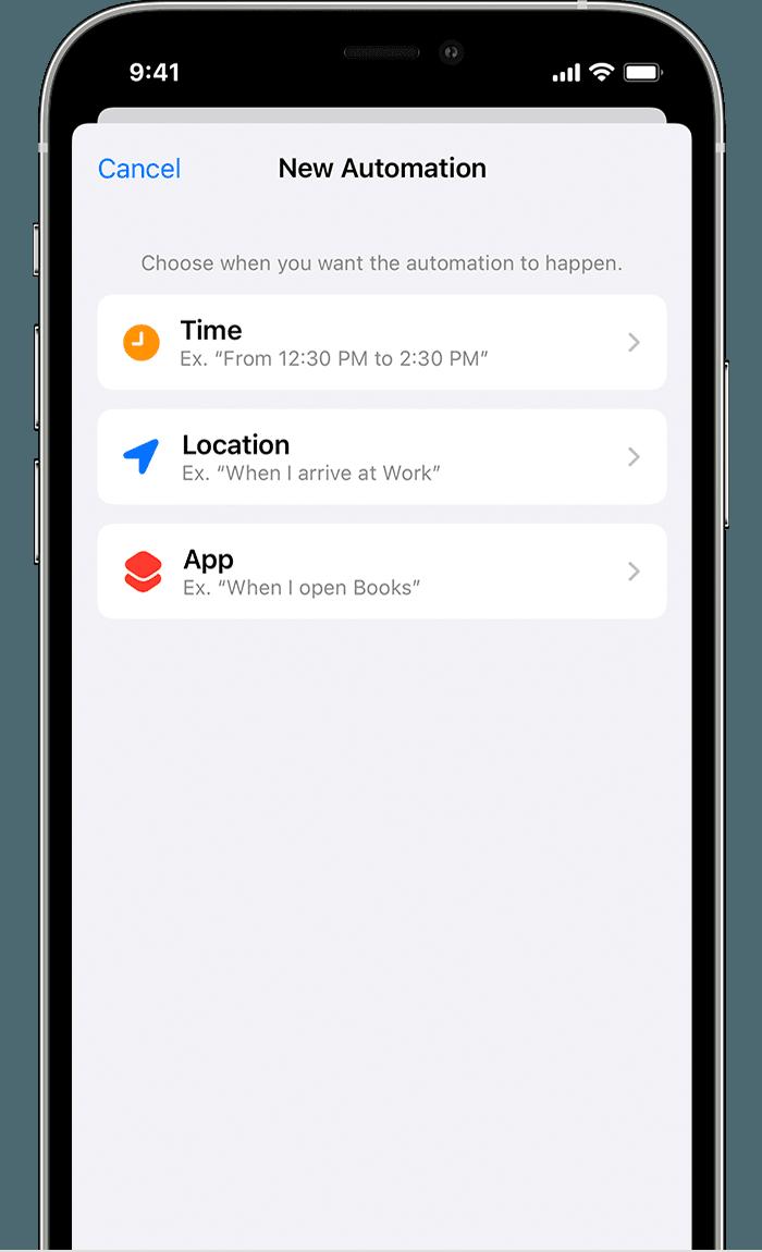 Οθόνη iPhone στην οποία εμφανίζονται οι ρυθμίσεις Νέας αυτοματοποίησης για τη Συγκέντρωση