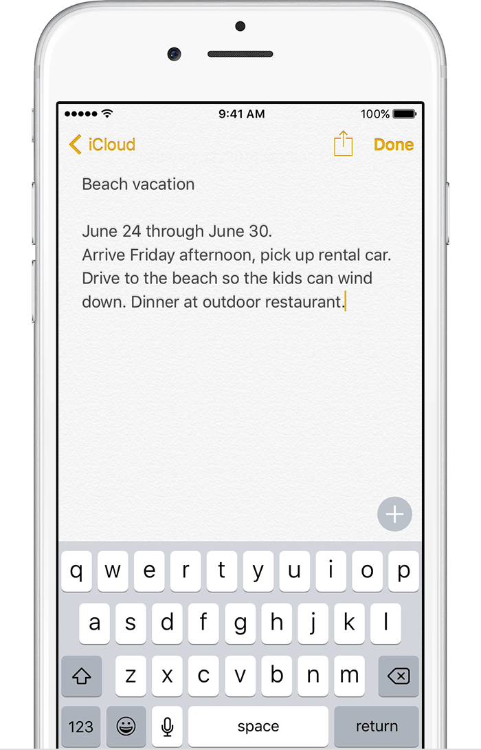 date app iphone notes