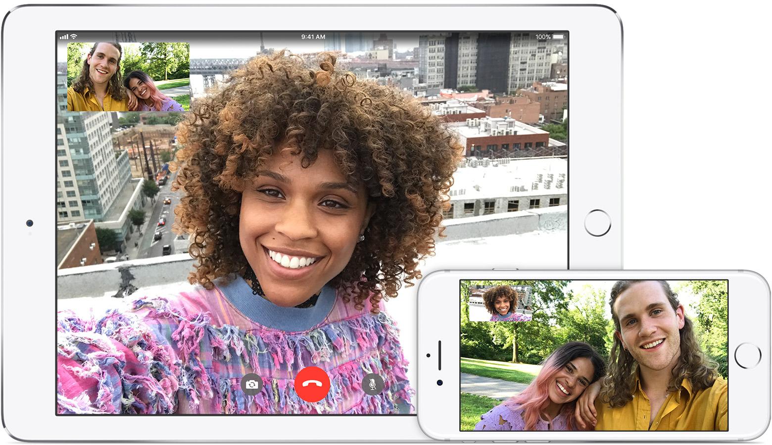 FaceTime cargados en un iPhone y un iPad