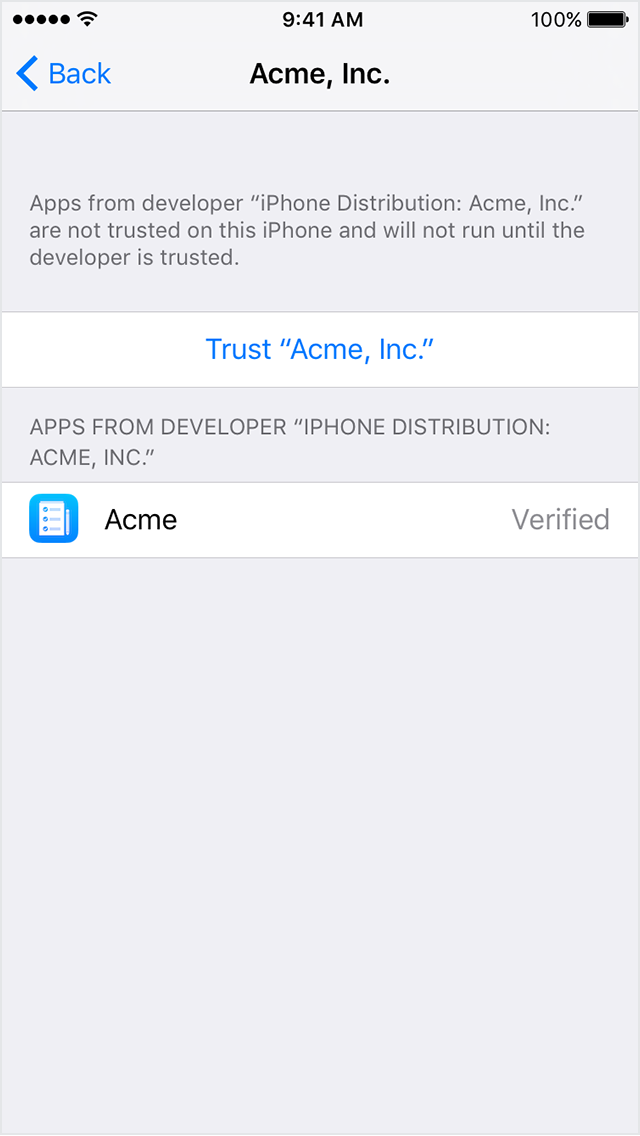 Install custom enterprise apps on ios apple support after you trust this profile you can manually install other apps from the same developer and open them immediately this developer remains trusted ccuart Images