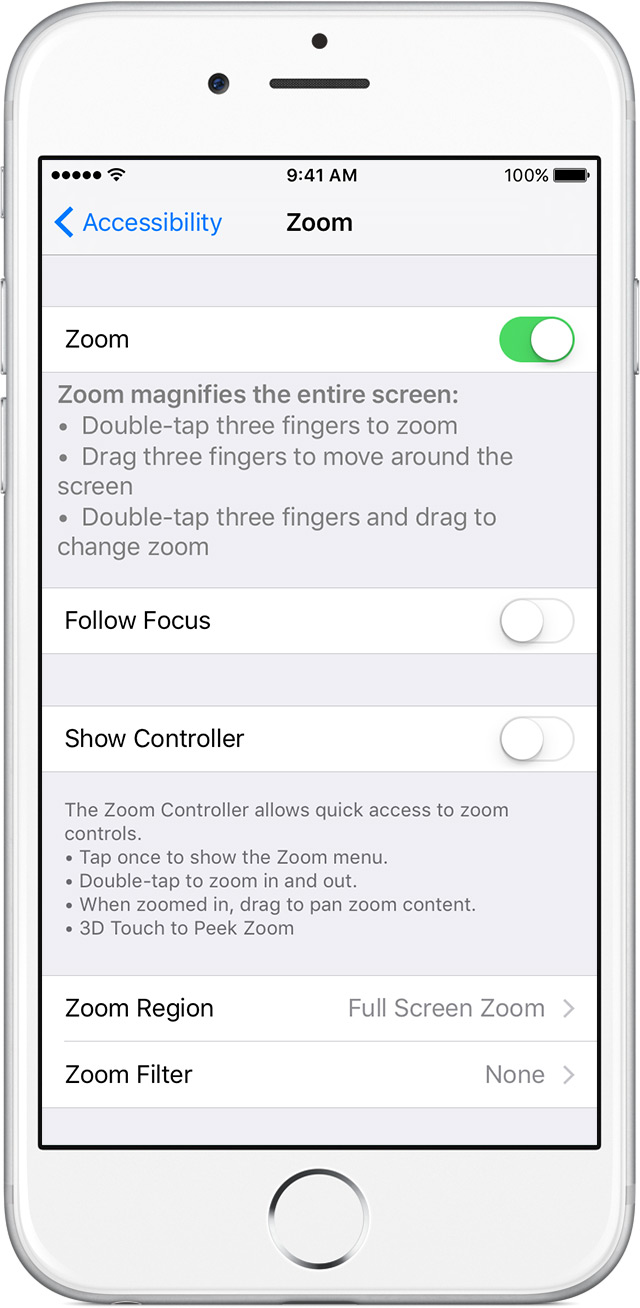 settings for zoom feature