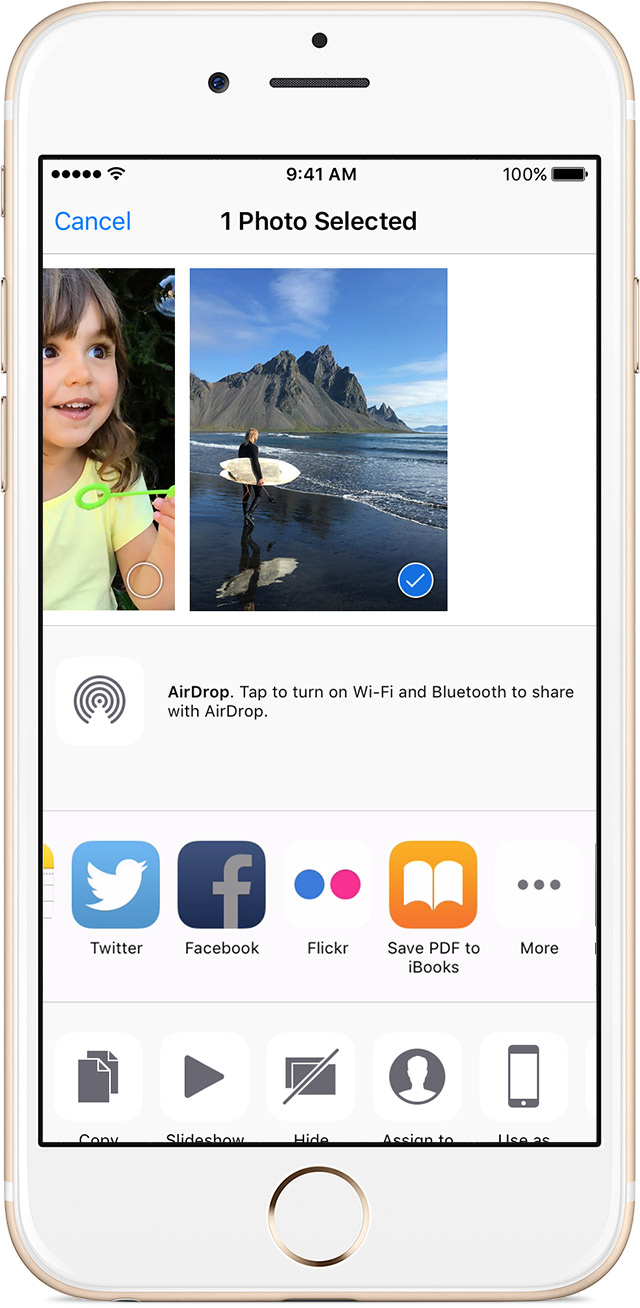 Share a photo from the Photos app without switching to a social media app