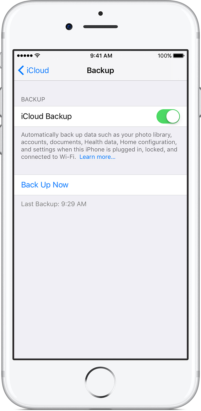 Turn on iCloud Backup on iPhone