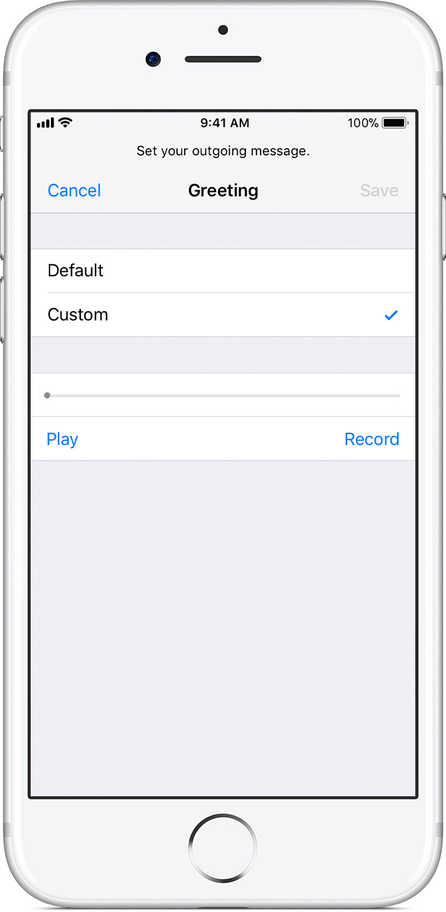 Set up visual voicemail on your iphone apple support if you choose custom you can record a new greeting m4hsunfo