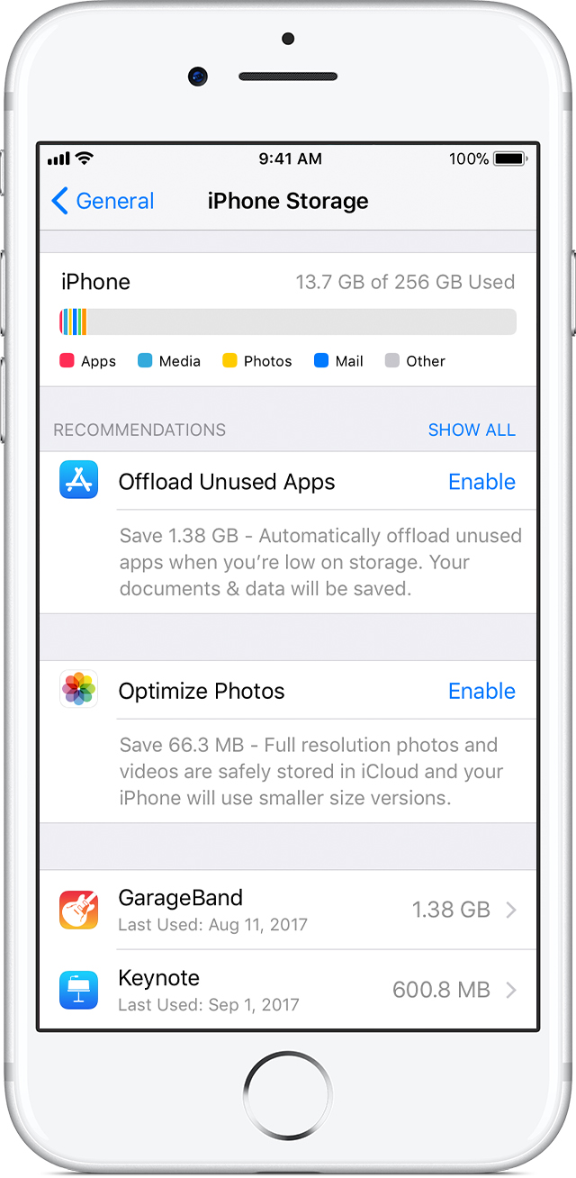 How to check the storage on your iphone ipad and ipod touch depending on the app you might be able to delete some of its content or delete the app and all of its content you can also offload the app ccuart Image collections
