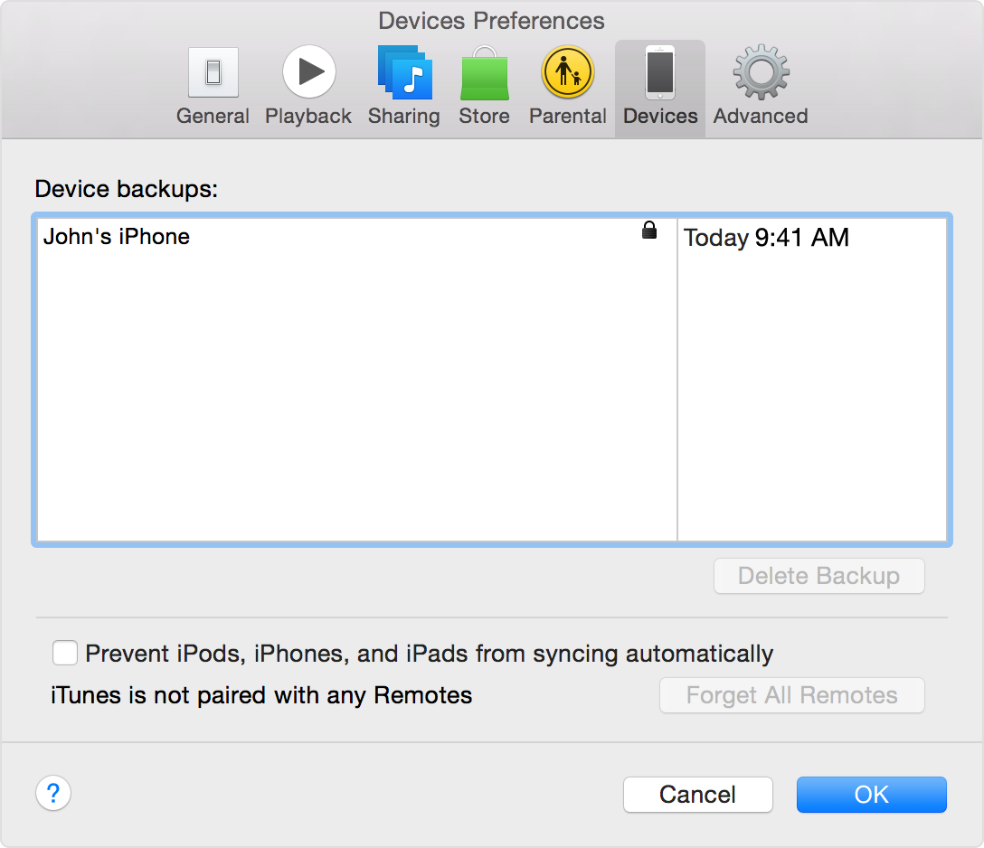 Look for your backup under iTunes Preferences > Devices