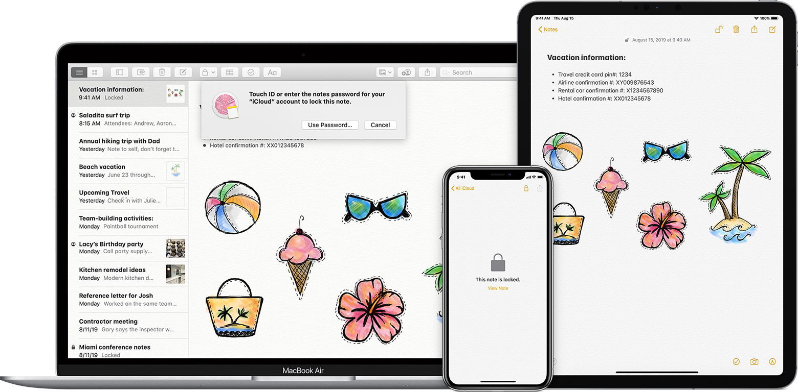Lock notes on your iPhone, iPad, iPod touch, and Mac - Apple Support