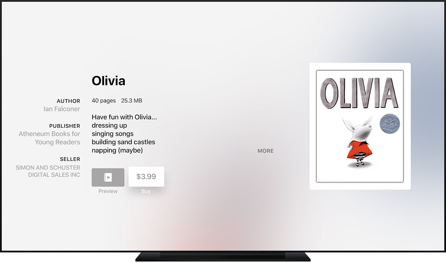 Apple TV with iBooks StoryTime app open, showing a children's book with the Buy button selected.