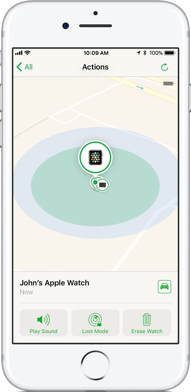 Find My iPhone screen on iPhone