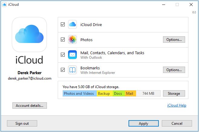 set up icloud for windows