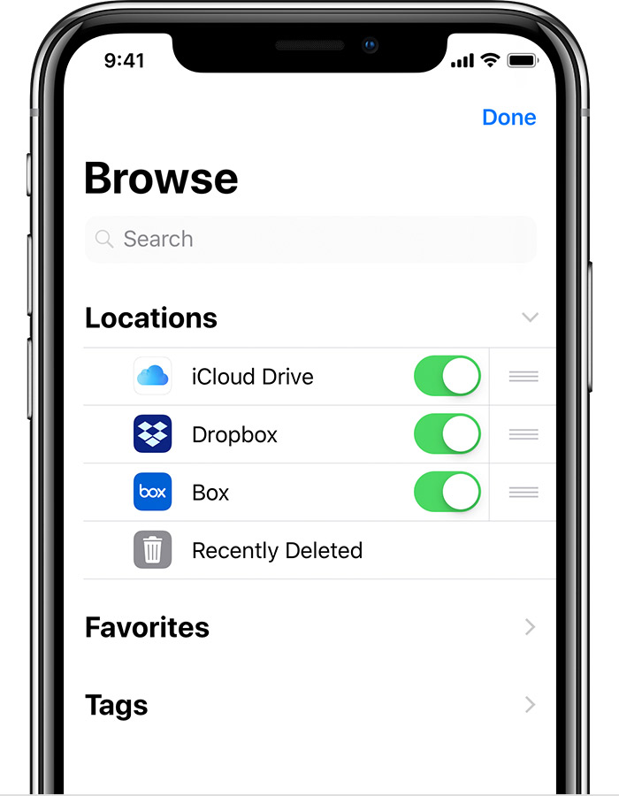 iPhone showing Browse screen with iCloud Drive, Dropbox, and Box turned on