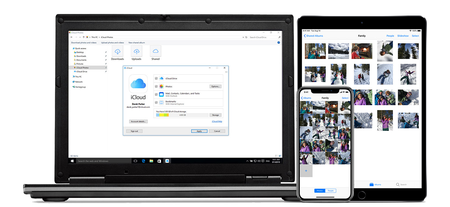 Mac, iPad e iPhone mostrando o iCloud para Windows