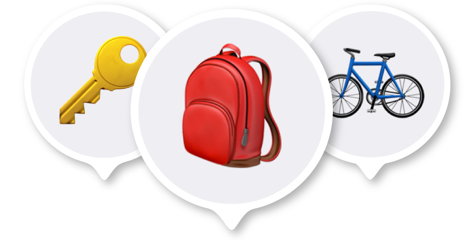 A key emoji, a backpack emoji, and a bicycle emoji, each inside a location pin.