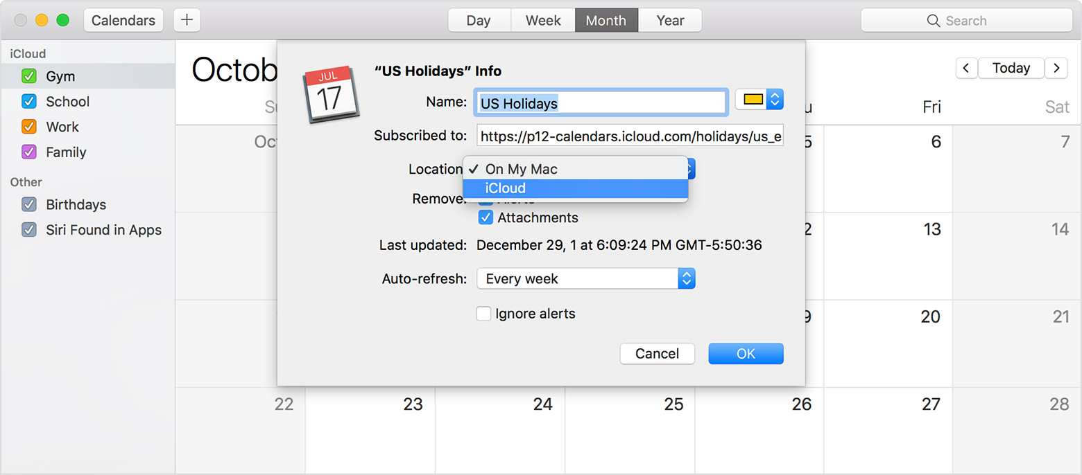 Use icloud calendar subscriptions apple support choose icloud from the location menu then click ok biocorpaavc Images