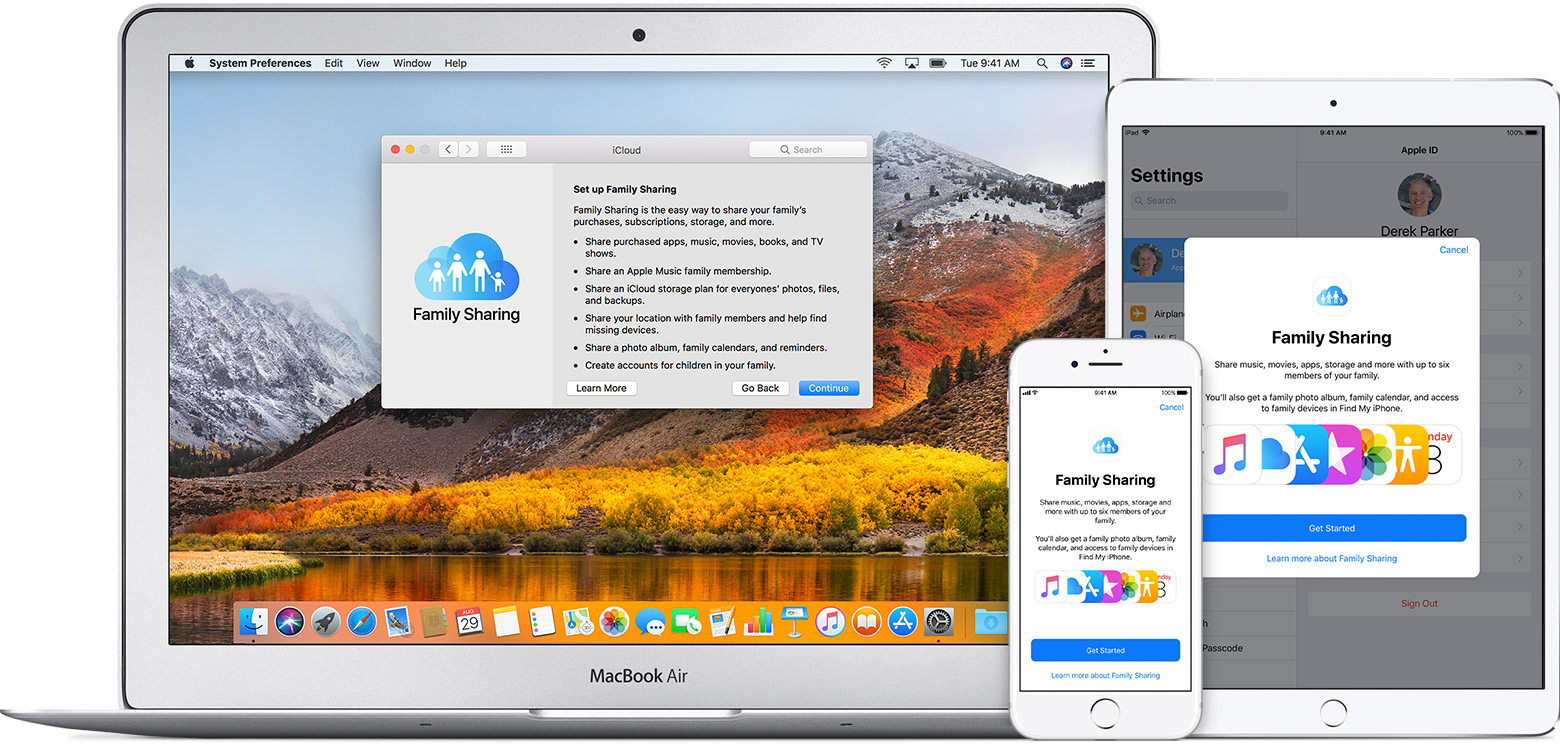 how to set up family sharing on apple id