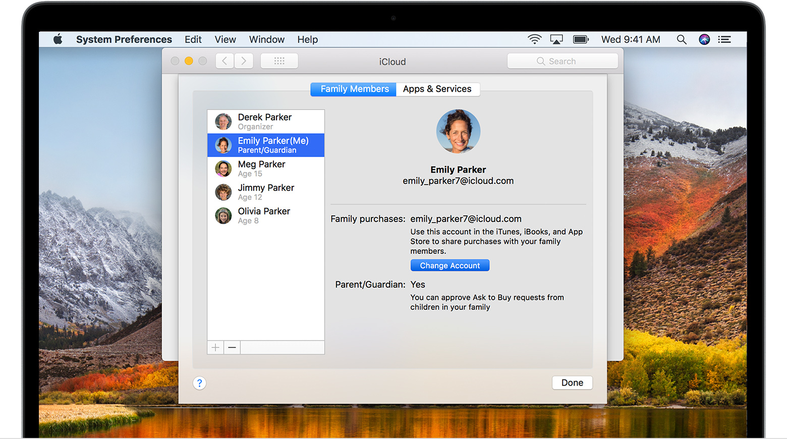 Family Members list in iCloud on a Mac