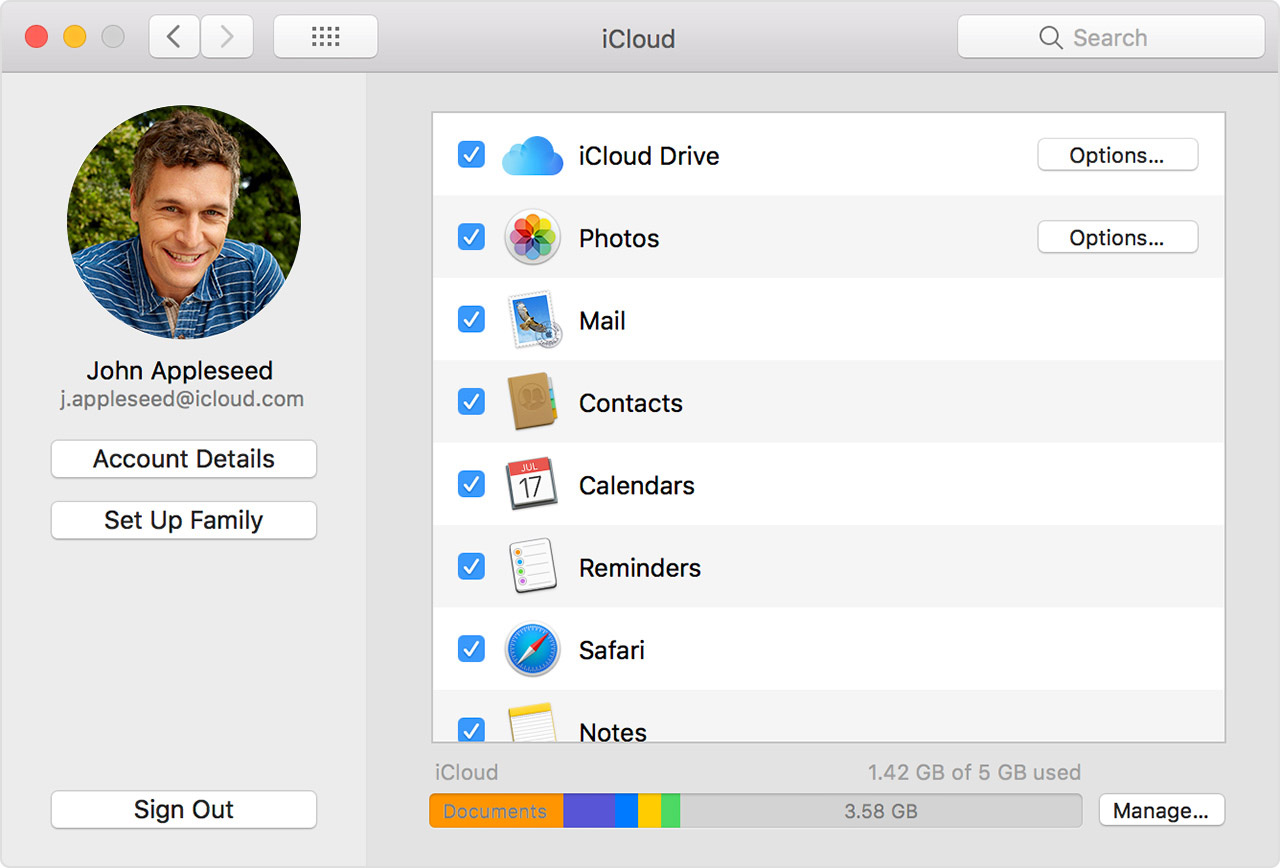 iCloud settings showing Calendars selected