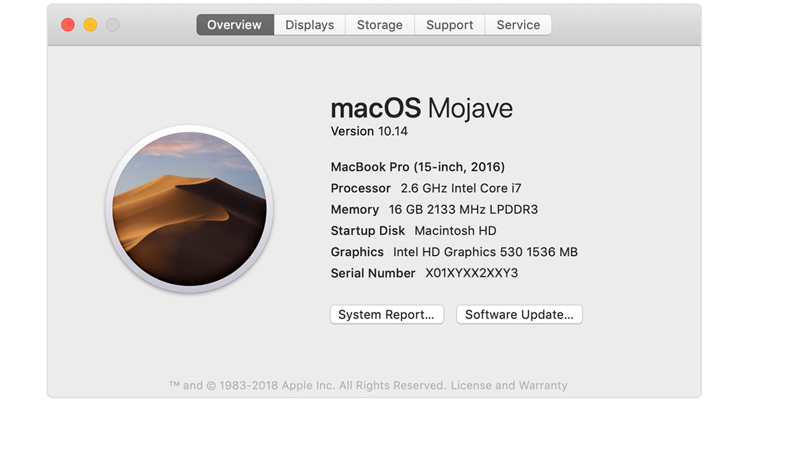 Overview screen showing macOS Mojave