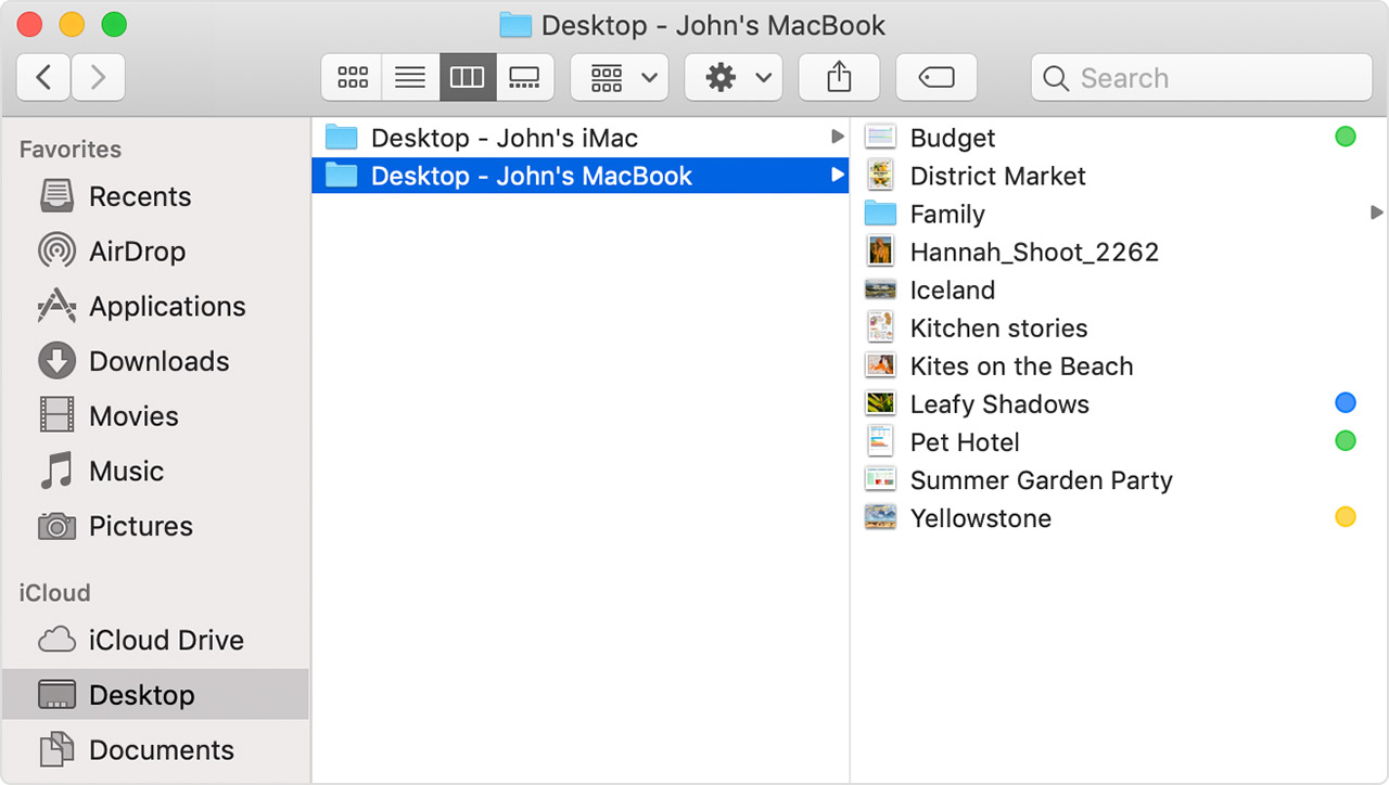 Mac showing a selected folder called Desktop - John's MacBook