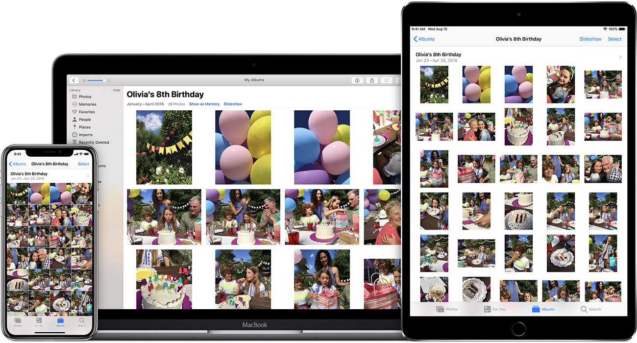 Photos sur iPhone, Mac et iPad