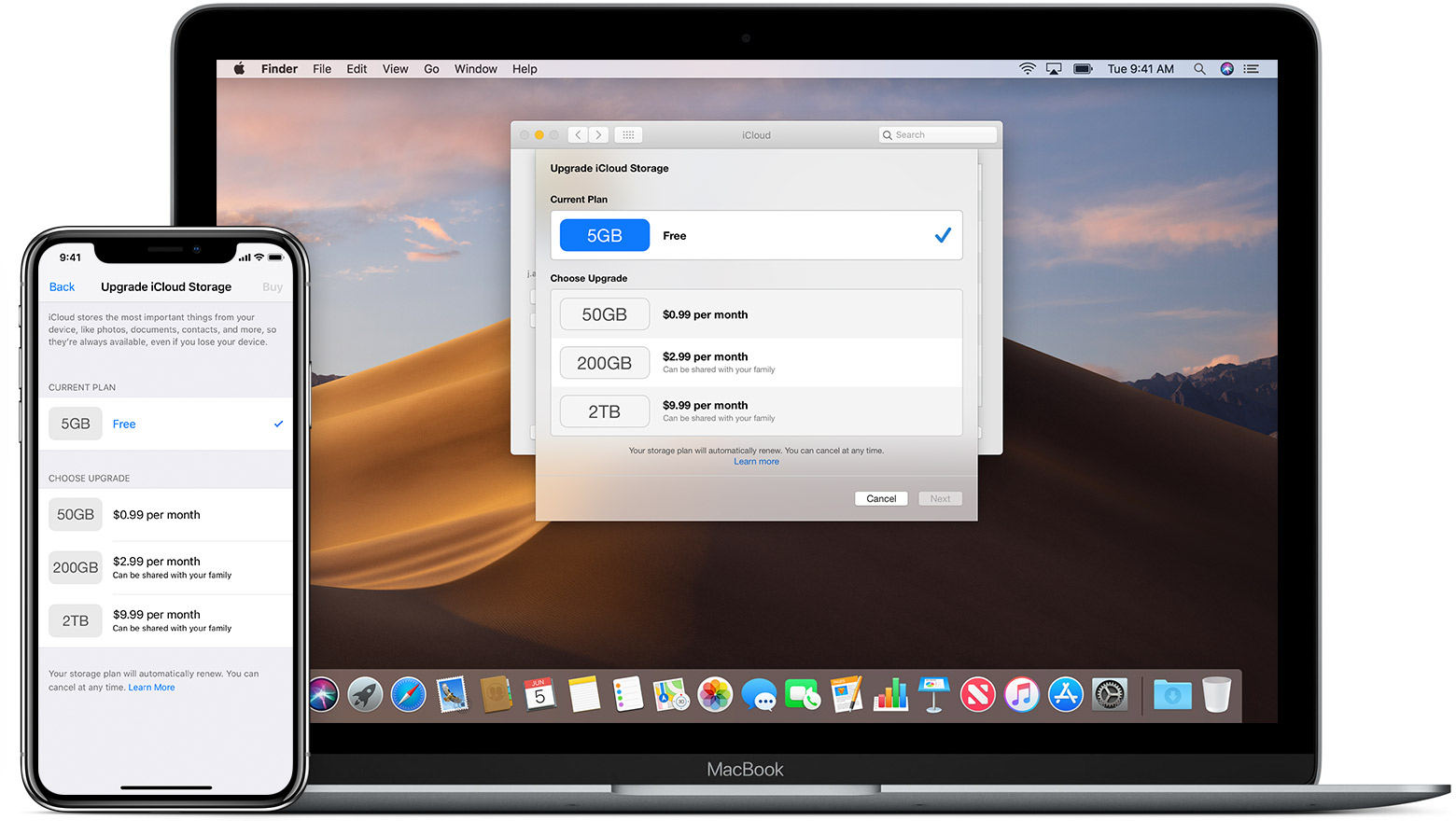 Upgrade iCloud Storage screen on iPhone and Mac