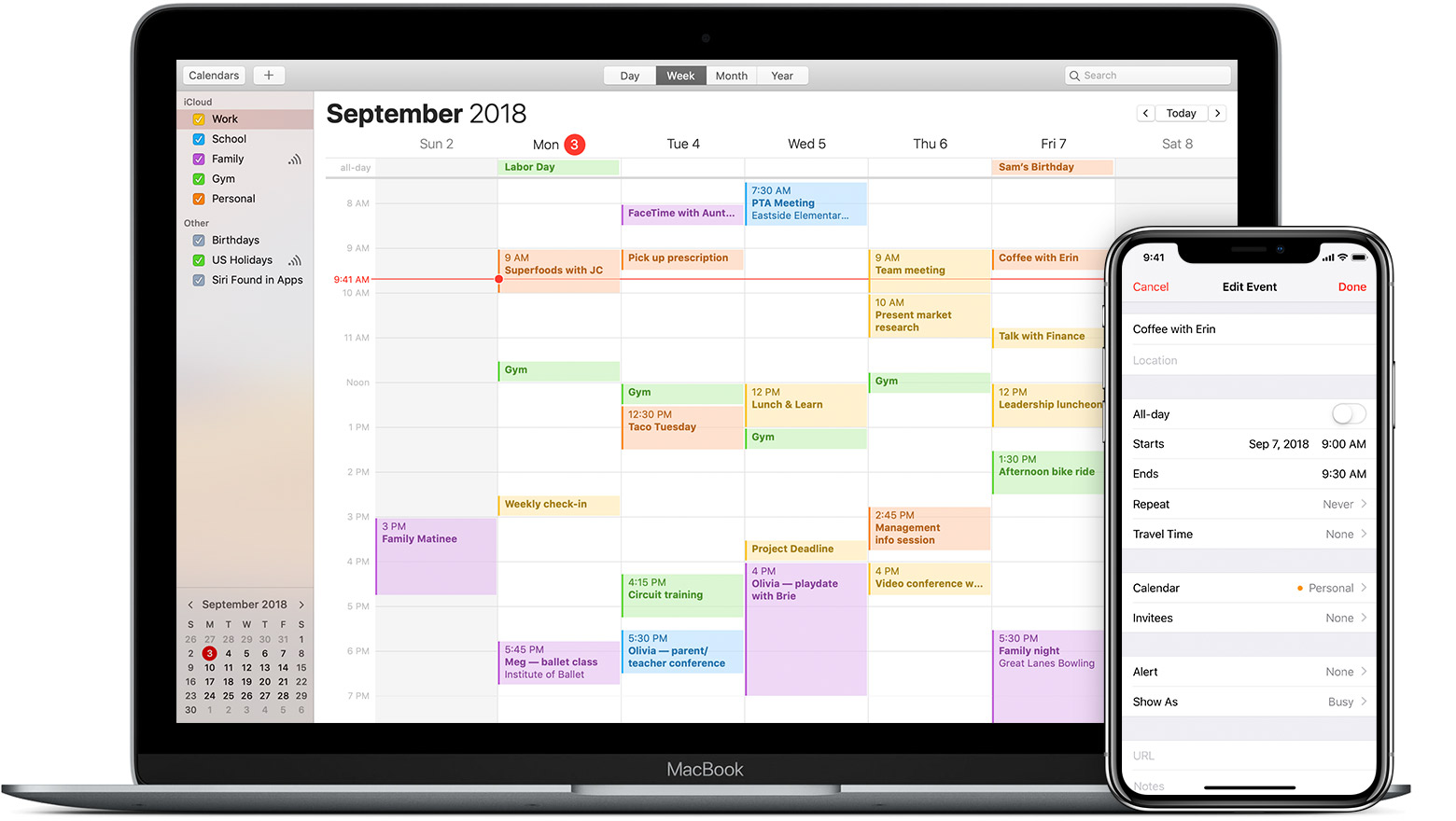 Mac and iPhone showing iCloud calendar