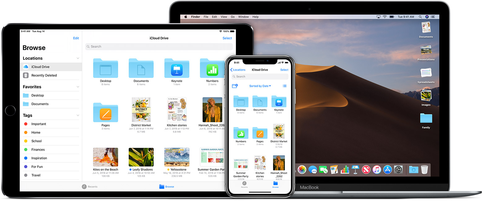 iCloud Drive shown on multiple devices