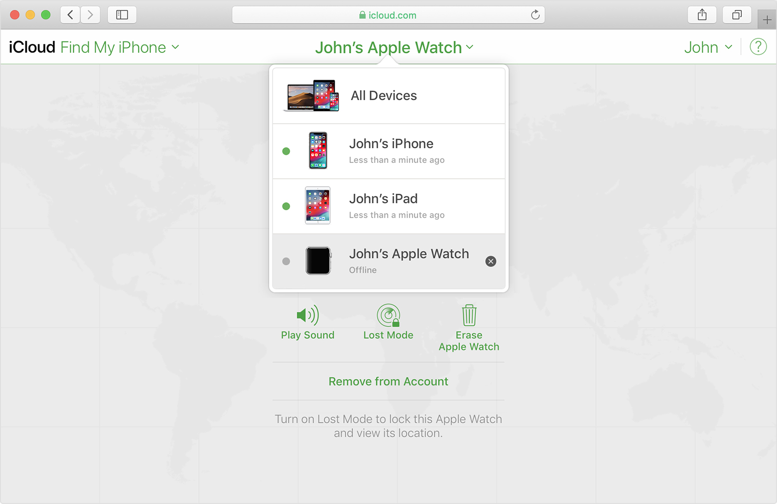 iCloud Find My iPhone showing John's Apple Watch