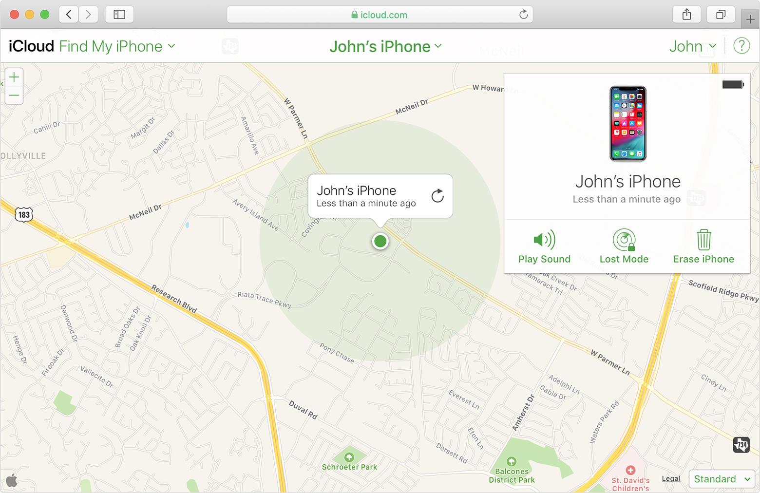 access find my iphone