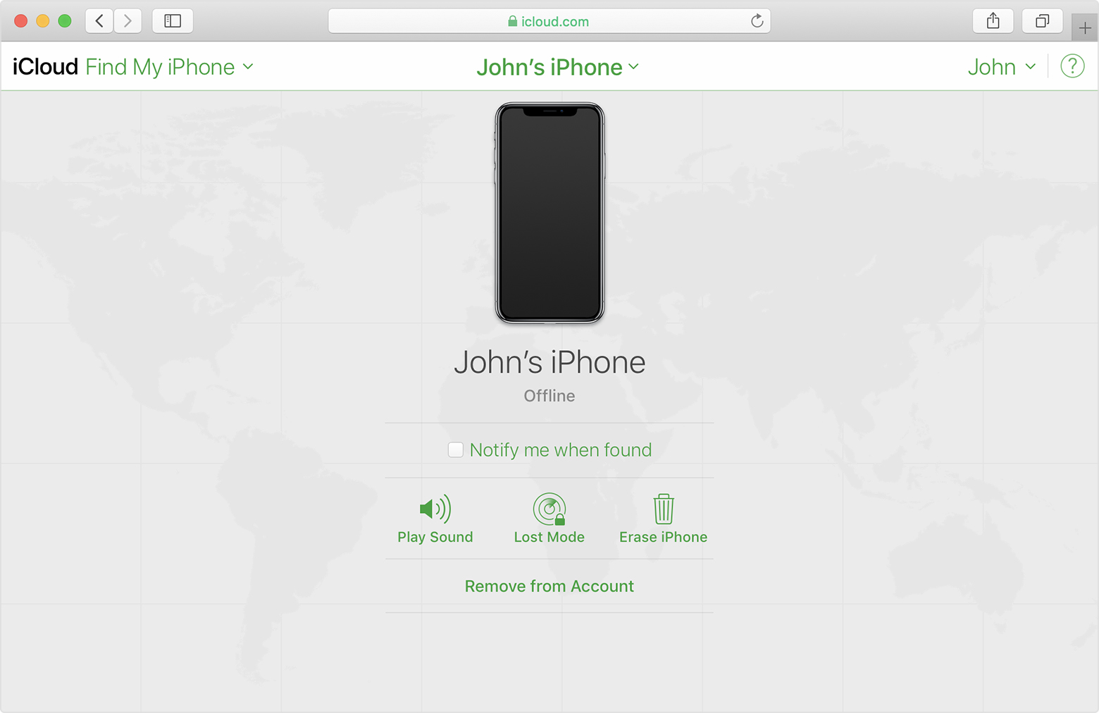 iCloud Find My iPhone showing John's iPhone