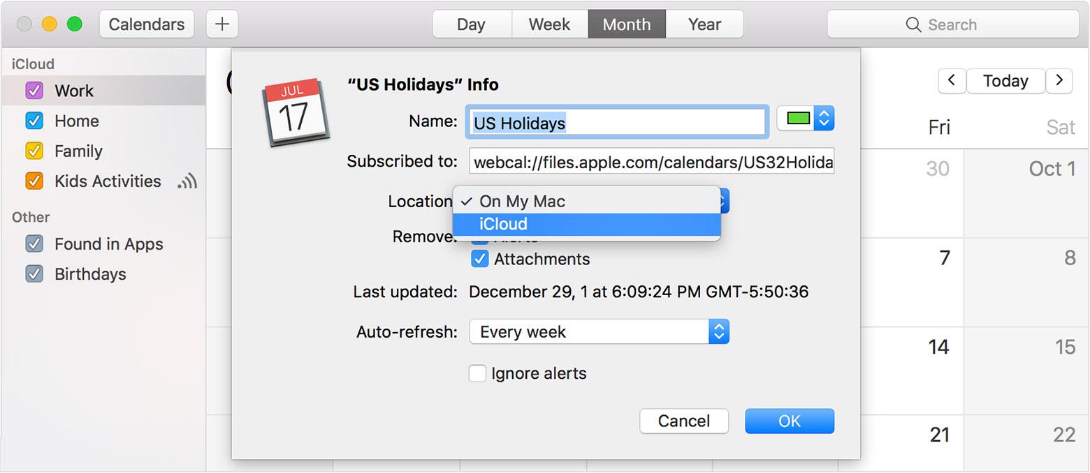 Calendar - Choose Icloud From The Location Menu Then Click Ok