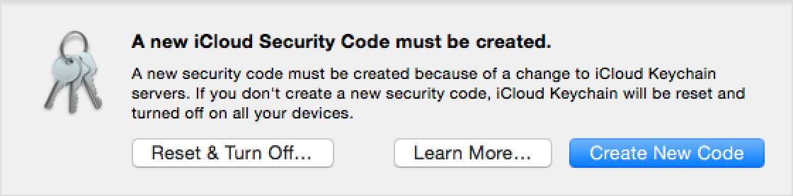 If you're asked to create a new iCloud Keychain security code ...