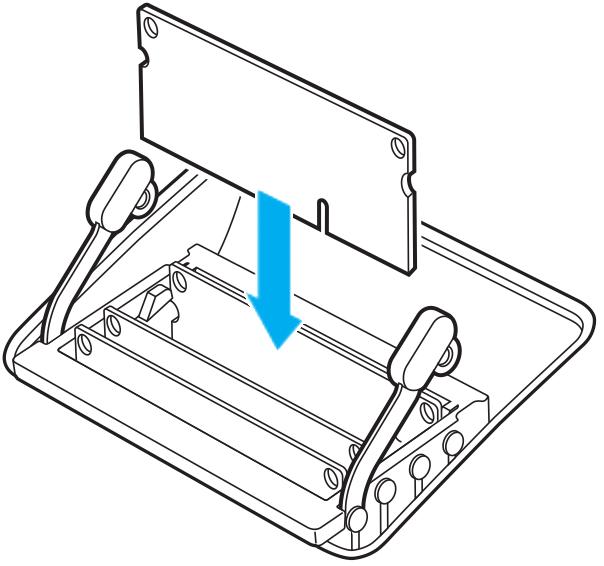 Insertion du module DIMM en orientant l'encoche qui se trouve sur la partie inférieure vers la droite