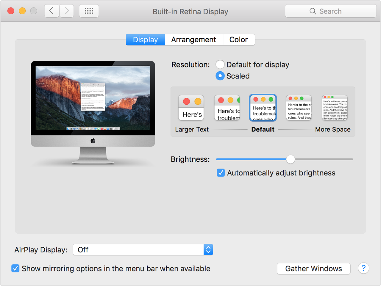 Retina Display Preferences iMac