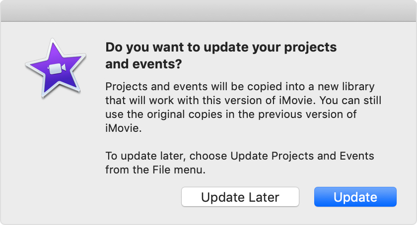 Update iMovie projects and events on a Mac - Apple Support