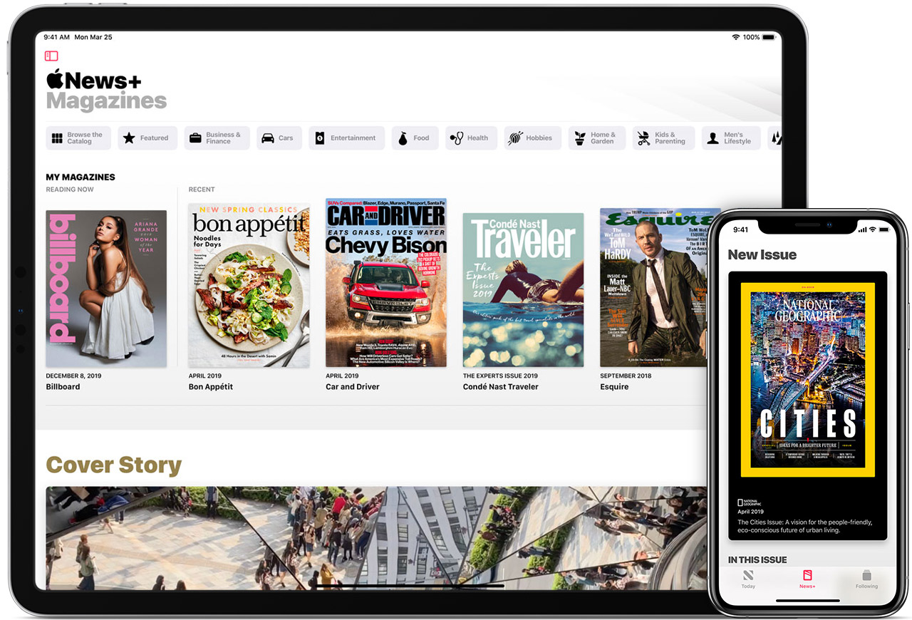 iPad and iPhone showing magazines that you can read with Apple News+.