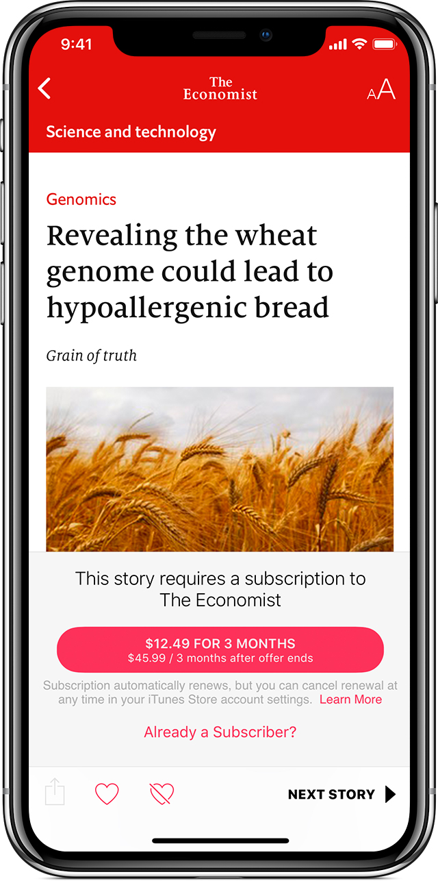 "An iPhone X showing an article from The Economist titled ""Revealing the wheat genome could lead to hypoallergenic bread"" in the News app."