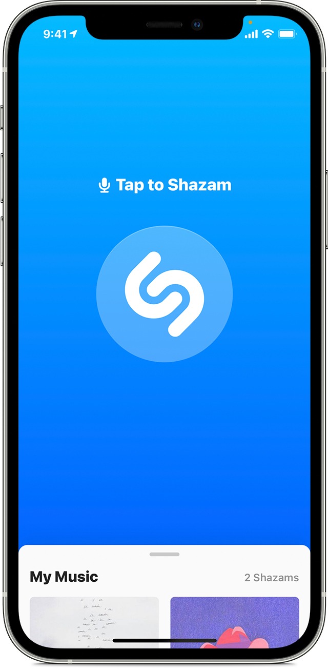 iPhone with Shazam app open to Home screen