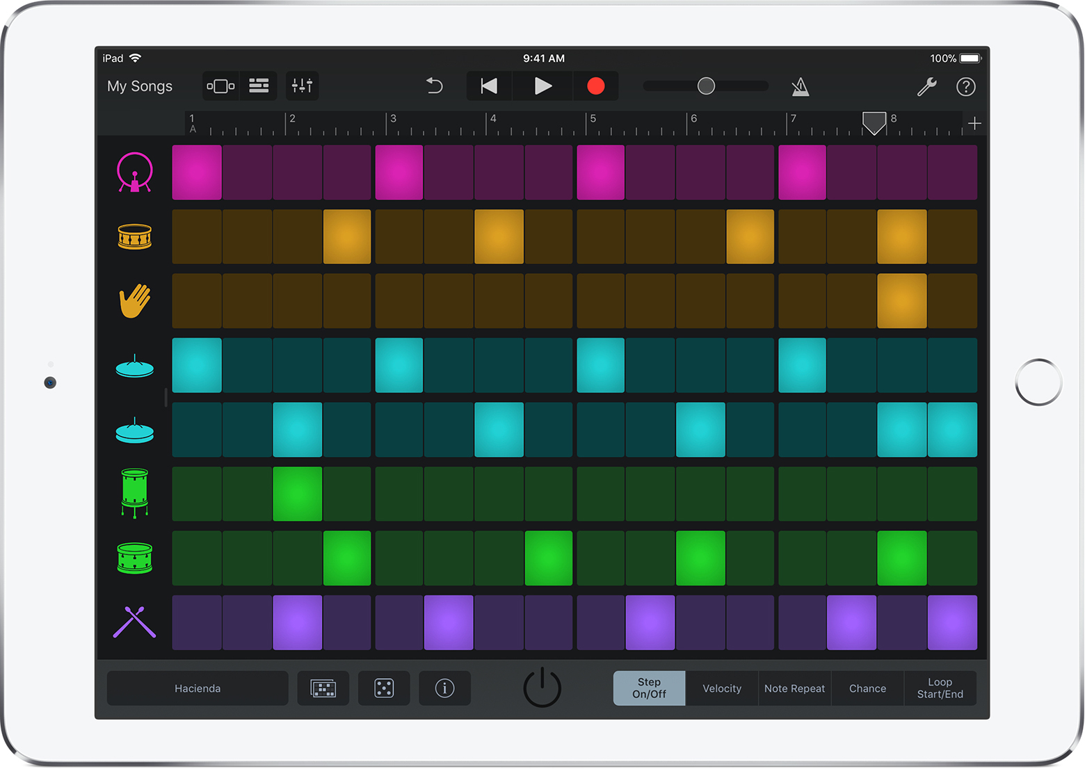 Beat Sequencer screen